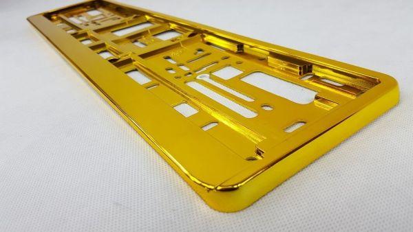Kennzeichenhalter Gelb / Gold Chrome/Hochglanz